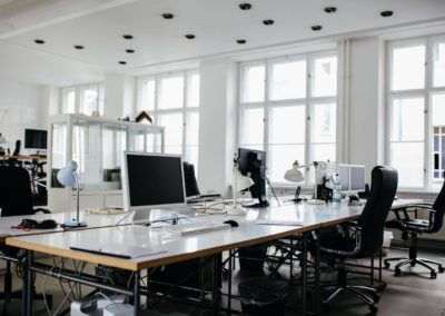 A Bright, Modern Office Space With Computers