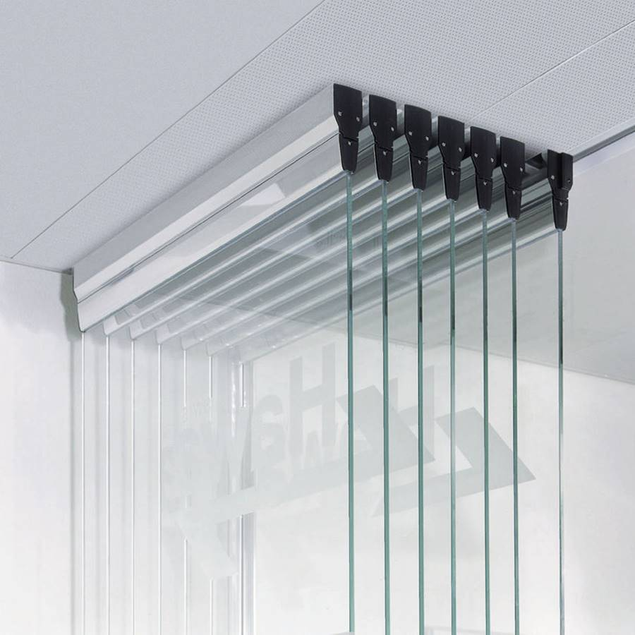 Sliding partition / glazed / professional