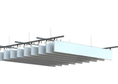 Plafonds actifs lammes verticales rayonnats Barcol Air SUISSE