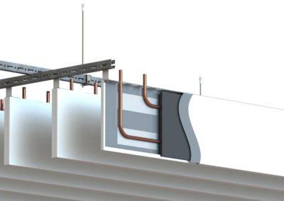 Plafonds actifs lammes verticales rayonnats Barcol Air coupe SUISSE