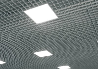 Grid structure of suspended ceiling. Contemporary interior design.